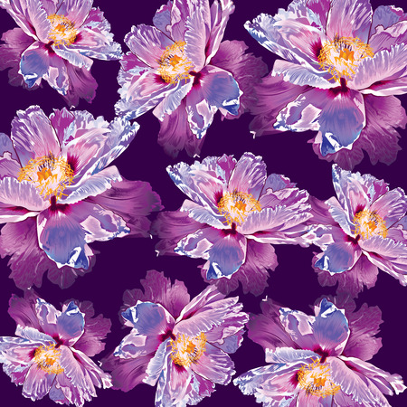 paperhanging: Paeonia suffruticosa peony ornament flower background Illustration