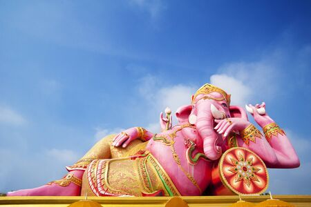 big pink Ganesha in relax pose