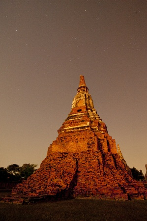 Ayutthaya temple Historic site in the moonlight