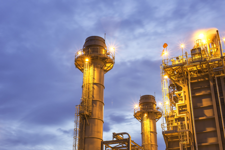 Gas turbine electrical power plant with blue hour. Stock Photo