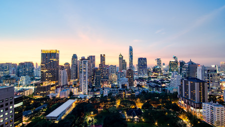 Bangkok capital city of Thailand in business areas at sunset meet nightlight Stock fotó