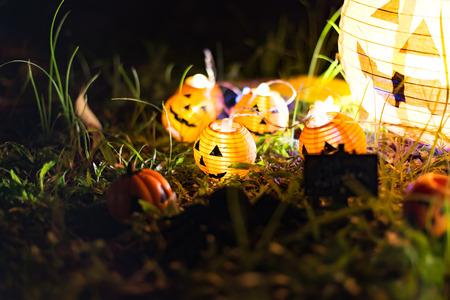 Halloween pumpkin head jack lantern in the garden, select focus