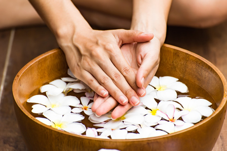 Spa treatment and product for female feet and hand spa, Thailand. select and soft focus