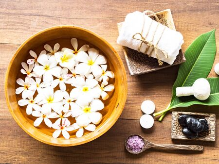 Spa Treatments and massage on wooden white, select and soft focus