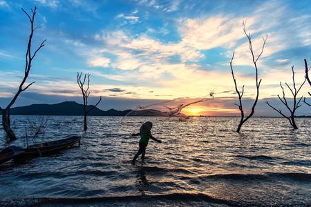Fisherman of Bangpra Lake in action when fishing, Thailand