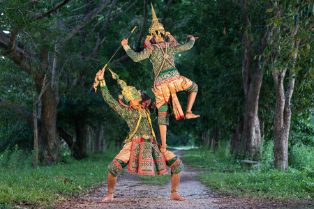 The pantomime festival candles,Thai traditional dance of the Ramayana epic drama art,Thailand