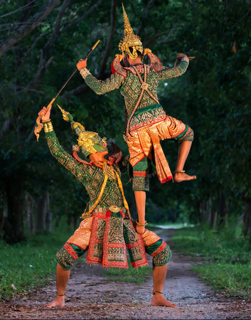 Thai culture dancing art in masked khon Ha-nu-man and Tos-sa-kan,That is high classical of dance in Thailand.