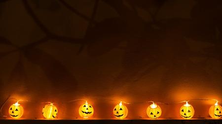Halloween pumpkins in forest, select focus