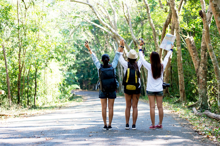 Girls Friendship Hangout Traveling Holiday Map Concept Stock Photo