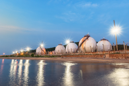 Natural Gas storage tanks , Oil tank , LPG ,Petrochemical plant , Petroleum Stock Photo