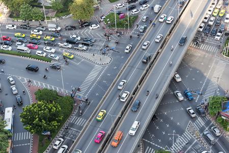 Road traffic in city at thailand .Bangkok Expressway top view, Top view