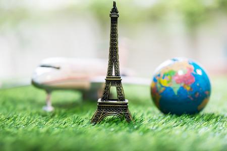 Eiffel tower  plane  worldand travel concept