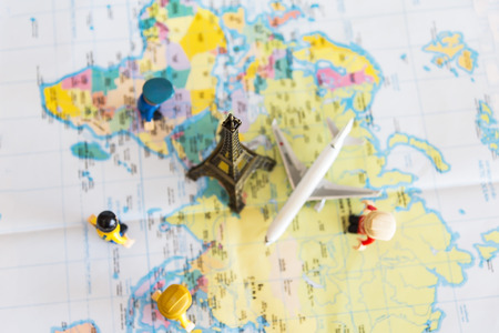 Map wold stock photos royalty free map wold images and pictures top view miniature group traveler with backpack standing on wold map for travel around the world gumiabroncs Gallery