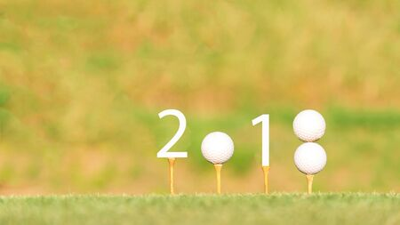 Happy new year 2018, Golf sport conceptual image