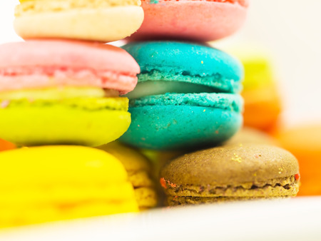 close up French colorful macarons background