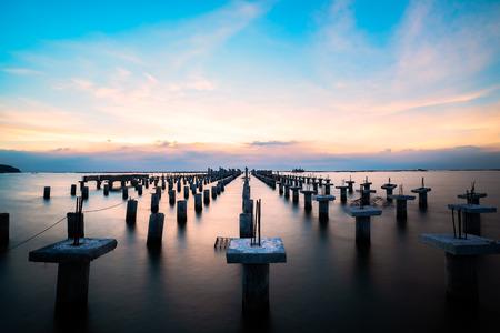 concrete bridge piers during construction