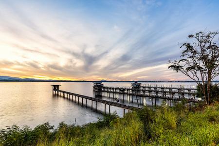 Beautiful morning landscape Pier Bang Phra Reservoir Chonburi, Thailand.