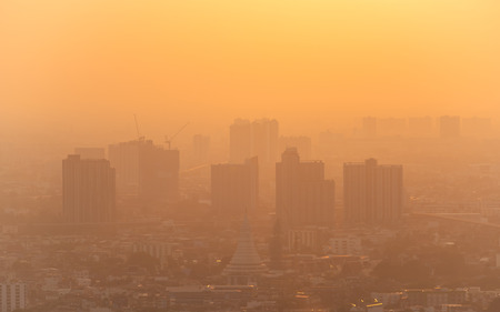bad air with PM 2.5 dust in the atmosphere  in the city Banco de Imagens
