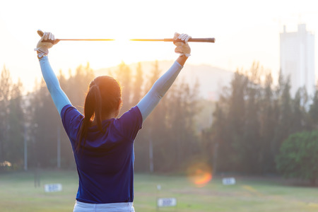 Golfer warm up before a game ,Lifestyle Concept. Sport Concept