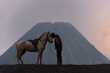 The horse for tourism into the crater of Indonesias Mount Bromo with desert view very nature.Bromo, East Java, Indonesia and Travel Concept Banco de Imagens