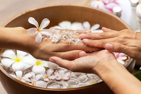 Spa treatment and product for female and hand spa. Healthy Concept. Фото со стока
