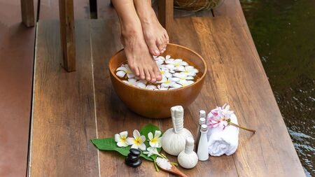 Spa treatment and product for female feet and hand spa, selective and soft focus, copy space Фото со стока