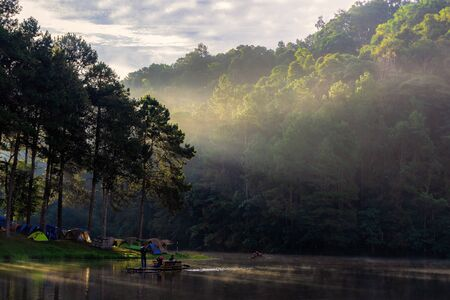 Adventures Camping and tent under the pine forest near water outdoor in morning and sunset at Pang-ung, pine forest park , Mae Hong Son, North of Thailand, forest background. Concept Travel Фото со стока