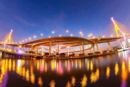 Elevated expressway. The curve of suspension bridge Large elevated traffic highway in Bangkok, Thailand  Фото со стока