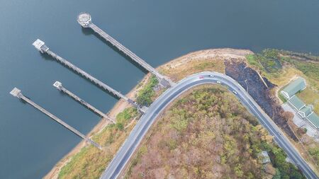 High angle view on waterfront bridge during low water time in rural areas