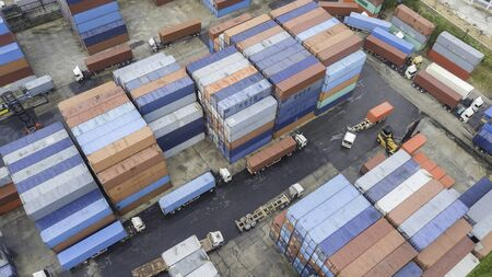 Top view Logistics and transportation of Container Cargo ship , logistic import export and transport industry background