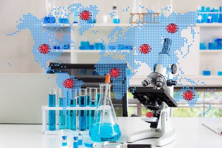 Asian researchers are developing new drugs. Medical concet .The Concept of medical science for Covid-19.