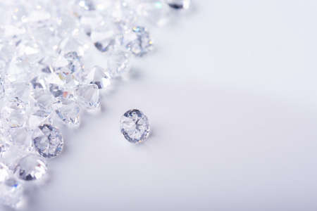 Realistic group of diamond on white background with copy space top view Banque d'images