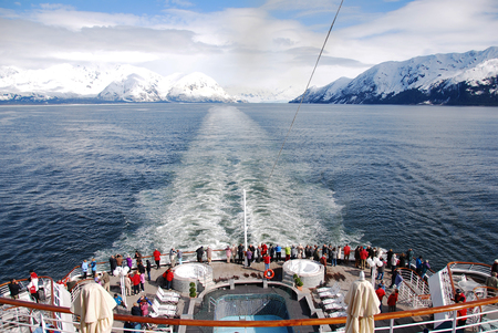 Alaska view from the passenger cruise ship on vacation Stock Photo