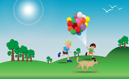 Children is playing with colorful balloons on the hill ; Dog is running  Vector