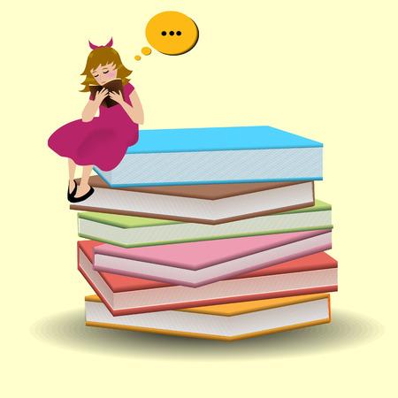 leggere libro: La ragazza � seduta sui libri e ama leggere il libro Vettoriali