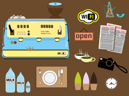 Many items in coffee shop Vector
