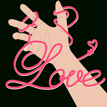 bind: Love text created by shoe rope pattern bind around hand Illustration