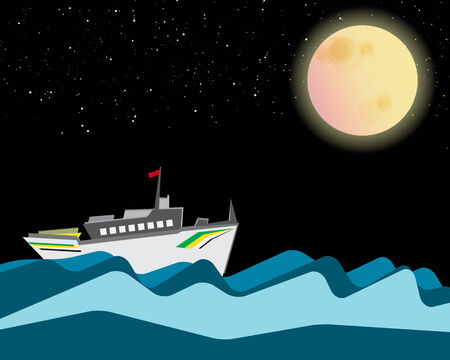 nightly: Cruise is sailing in the night with full moon and stars  Illustration