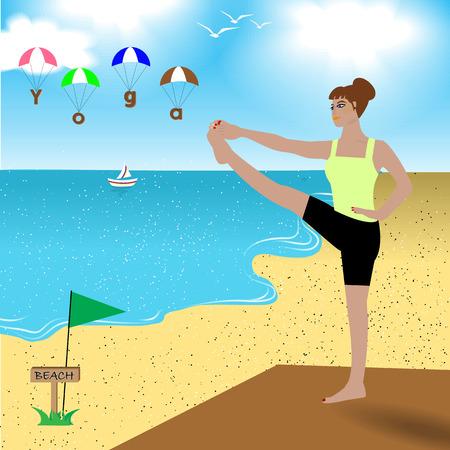 yoga outside: Woman is doing yoga on beach