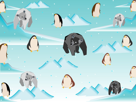 Polar bear and penguin in north pole pattern  Vector