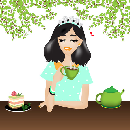 chilling: woman is chilling and drinking coffee