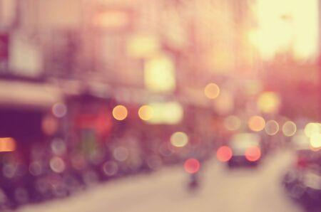 交通: 交通道路の抽象的な背景をぼかし。レトロなカラー スタイル。