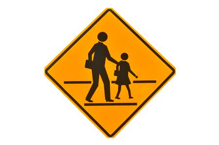 School sign on white background. Standard-Bild