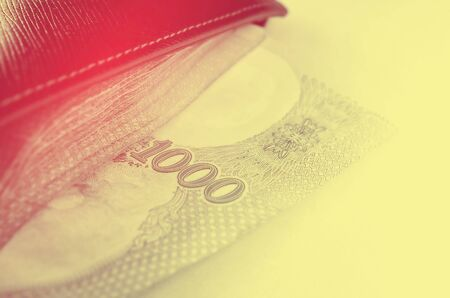 mucho dinero: Close up a lot of money in wallet. Retro color style.
