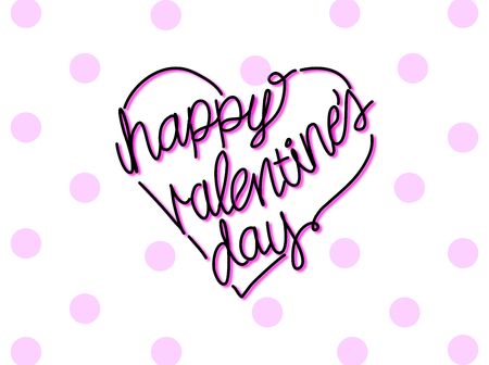 valentine s: happy valentine s day in heart shape hand writing.