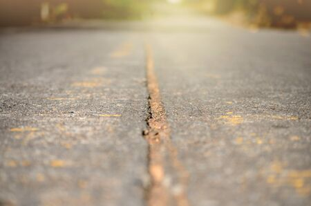 Ground level of road,shallow depth of field.