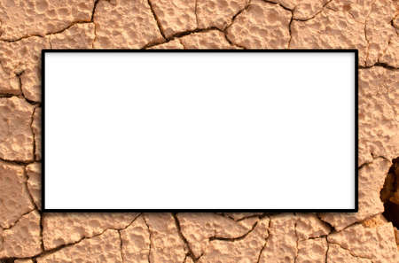 soil texture: Copy space of white background on crack soil texture background.