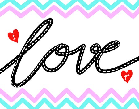 hand writing: I Love you words hand writing. Stock Photo
