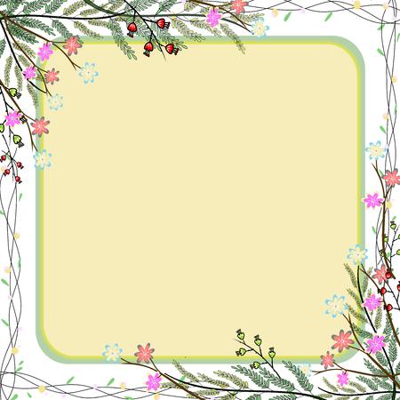 Achtergrond van de de handtekening van de aard de kleurrijke bloem frame.
