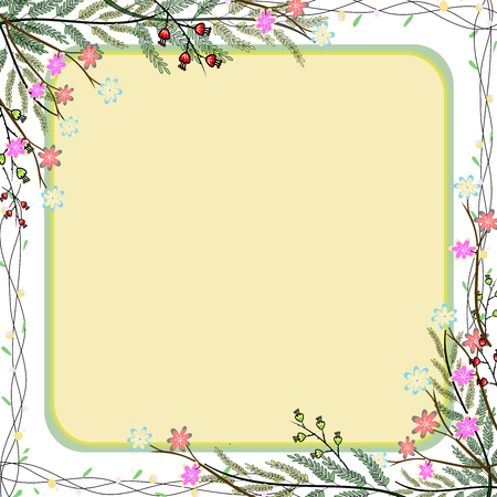 Nature colorful flower frame hand drawing background.